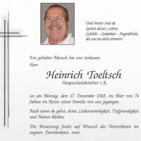 Heinrich Toeltsch verstorben (1944-2018)
